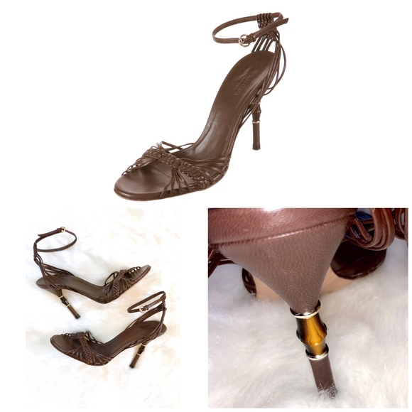 95bc9544e Gucci Shoes | Brown Strappy Bamboo Gold Accent Heels | Poshmark